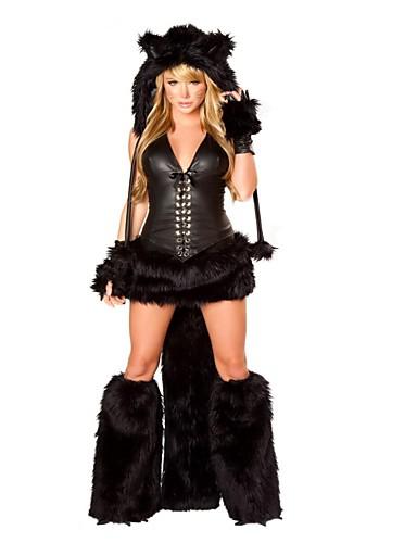 povoljno Maske i kostimi-Mačka Cosplay Nošnje Halloween Festival / Praznik Polyster Crn Karneval kostime Moda