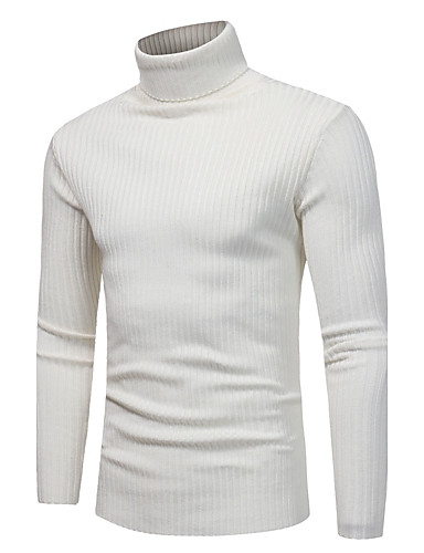 cheap Men's Sweaters & Cardigans-Men's Daily / Weekend Solid Colored Long Sleeve Slim Regular Pullover Sweater Jumper, Turtleneck Fall / Winter Light gray / White / Navy Blue M / L / XL