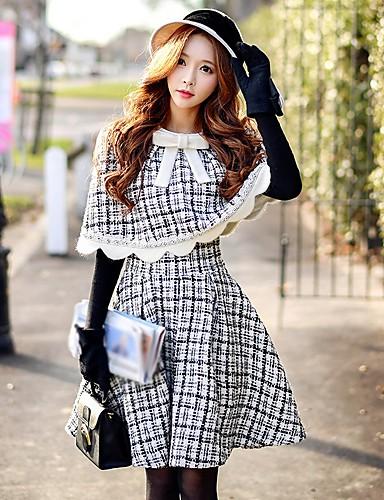 preiswerte Hosen & Röcke für Damen-Damen Retro Ausgehen Arbeit A-Linie Röcke - Einfarbig Winter Schwarz S M L