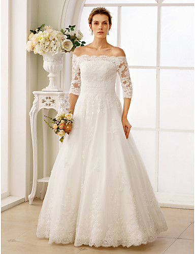 cheap Plus Size Wedding Dresses-A-Line Off Shoulder Floor Length Lace / Tulle / Lace Over Tulle Made-To-Measure Wedding Dresses with Beading / Ruched by LAN TING BRIDE® / Illusion Sleeve