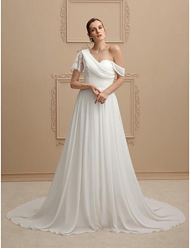Γραμμή Α   Πριγκίπισσα Ένας Ώμος Ουρά μέτριου μήκους Σιφόν   Διάφανη δαντέλα  Φορέματα γάμου φτιαγμένα στο μέτρο με Ζωνάρια   Κορδέλες   Πιασίματα με LAN  ... f9bc97bbd87