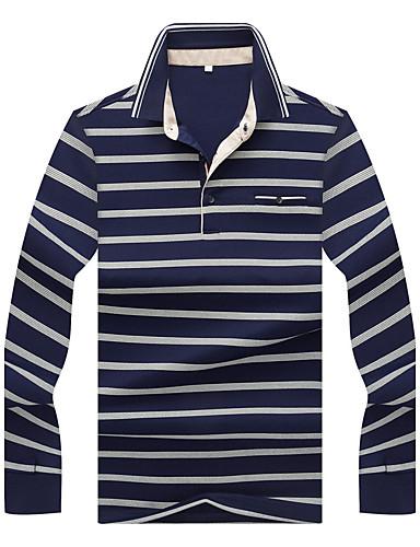 levne Pánská tílka-Pánské - Proužky Práce Sofistikované Větší velikosti Tričko Bavlna Košilový límec Vodní modrá / Dlouhý rukáv / Podzim / Zima