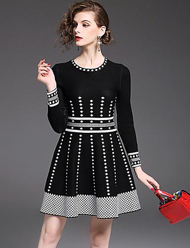 5cbd71aac7c4 Γυναικεία Εκλεπτυσμένο Κομψό στυλ street Γραμμή Α Θήκη Πλεκτά Φόρεμα -  Συνδυασμός Χρωμάτων