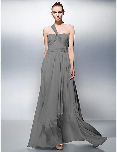 levne Šaty pro slavnostní příležitosti-A-Linie Jedno rameno Na zem Šifón Šaty s Nabírání / Sklady podle TS Couture®