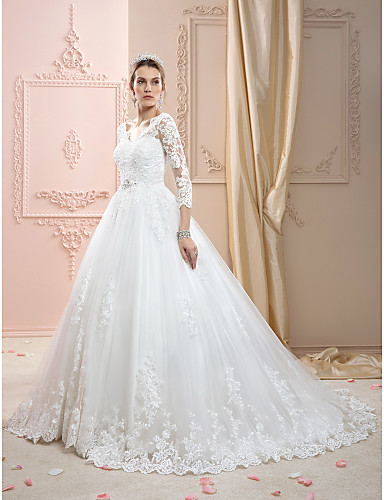 cheap Wedding Dresses-Ball Gown Wedding Dresses V Neck Court Train Lace Over Tulle 3/4 Length Sleeve Glamorous Plus Size Illusion Sleeve with Crystals Appliques 2020