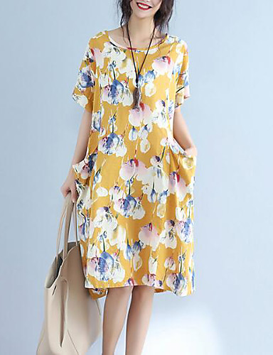 a112f2f016 Women's Plus Size Going out Classic & Timeless Loose Loose Dress - Solid  Colored / Floral Artistic Style Summer Cotton Navy Blue Yellow One-Size  6203791 ...