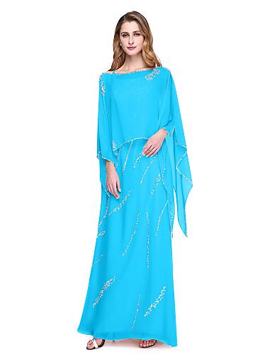 voordelige Wrap Dresses-Strak / kolom Spaghettibandjes Tot de grond Chiffon Bruidsmoederjurken met Kralen door LAN TING BRIDE®
