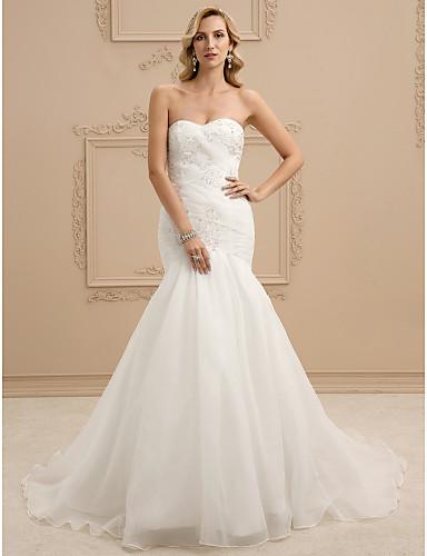 Sellő fazon Szív-alakú Udvari uszály Organza Made-to-measure esküvői ruhák  val vel Gyöngydíszítés   Rátétek   Cakkos által LAN TING BRIDE®   Open Back  ... f5ba935f3d