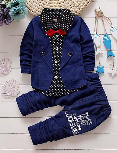 preiswerte Baby & Kinder-Baby Jungen Innen / Schultaschen / Lässig / Alltäglich Solide Langarm Standard Baumwolle Kleidungs Set Rote