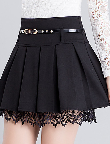cheap Women's Skirts-Women's Daily Plus Size A Line Skirts - Solid Colored Lace Lace Black S M L