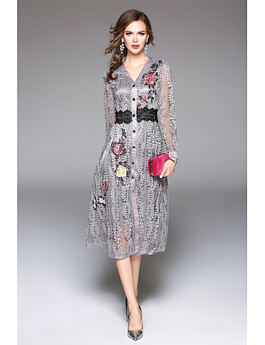 e878d7120ba46 Women's Embroidery Daily / Work Street chic / Chinoiserie / Sophisticated  Maxi A Line Dress - Embroidered Lace V Neck Fall Blue Black Red 6237776  2019 – ...
