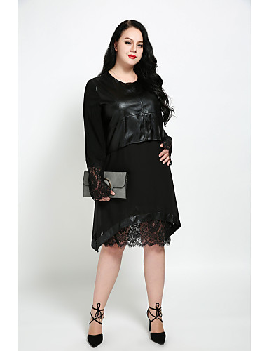 cheap Women's Dresses-Women's Lace Plus Size Black Dress Street chic Fall Daily Shift Solid Colored Lace L XL