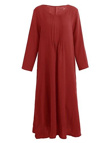 voordelige Maxi-jurken-Dames Grote maten Tuniek Jurk - Effen U-hals Maxi / Ruimvallend
