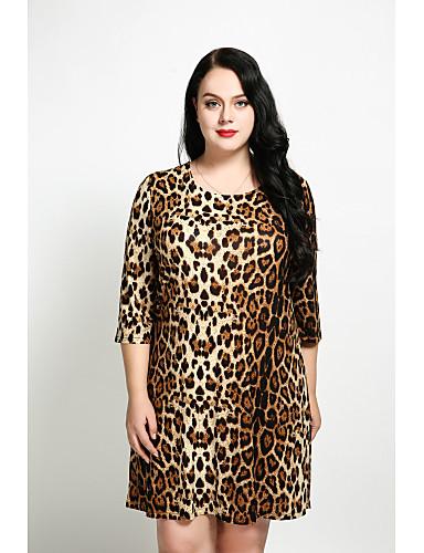 levne Šaty velkých velikostí-Dámské Větší velikosti Vintage Bavlna A Line / Volné / Shift Šaty - Leopard Nad kolena