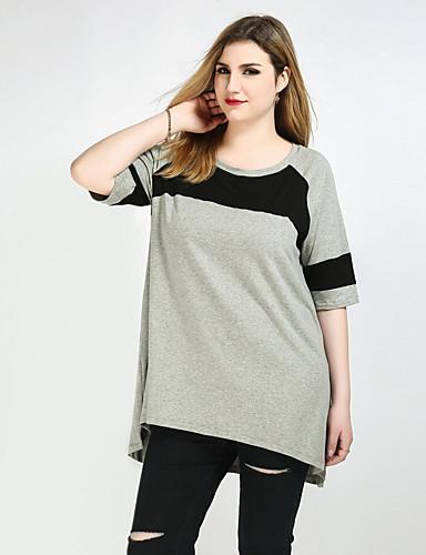 billige Dametopper-Bomull Store størrelser T-skjorte Dame - Fargeblokk, Lapper Gatemote