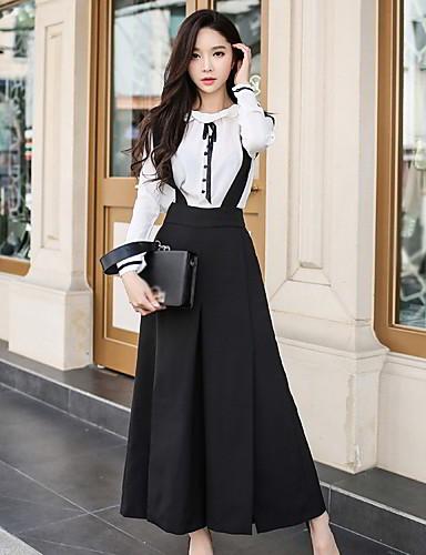 preiswerte Hosen & Röcke für Damen-Damen Ausgehen Arbeit Lose / Breites Bein / Overall Hose - Solide Gespleisst Schwarz 26 27 28