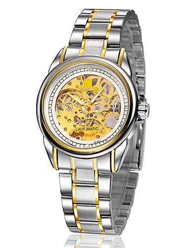 Ανδρικά Διάφανο Ρολόι / μηχανικό ρολόι Ανθεκτικό στο Νερό / Εσωτερικού Μηχανισμού κράμα Μπάντα Ασημί / Χρυσό / Αυτόματο κούρδισμα