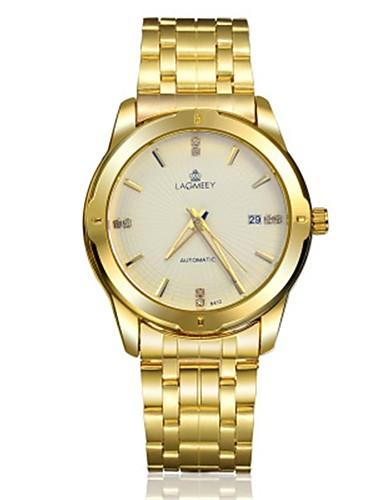 Homens Relógio de Moda relógio mecânico Automático - da corda automáticamente Analógico Branco Amarelo Azul / Aço Inoxidável