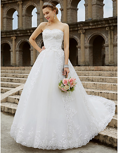 cheap Wedding Dresses-Ball Gown Strapless Sweep / Brush Train Tulle / Glitter Lace Strapless Country Sparkle & Shine / Backless Wedding Dresses with Bow(s) / Beading 2020