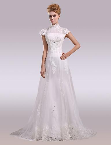 df3086d35ba Γραμμή Α Ζιβάγκο Ουρά μέτριου μήκους Σατέν / Τούλι / Όλο δαντέλα Φορέματα  γάμου φτιαγμένα στο μέτρο με Χάντρες / Διακοσμητικά Επιράμματα / Κουμπί με  6312656 ...