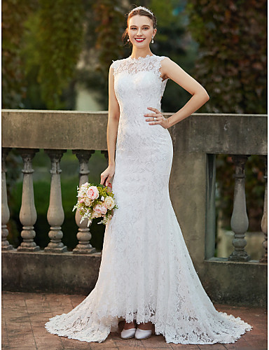 Mermaid / Trumpet High Neck Sweep / Brush Train Stretch Satin / Lace Made-To-Measure Wedding Dresses Appliques / Lace LAN TING BRIDE® / Open Back