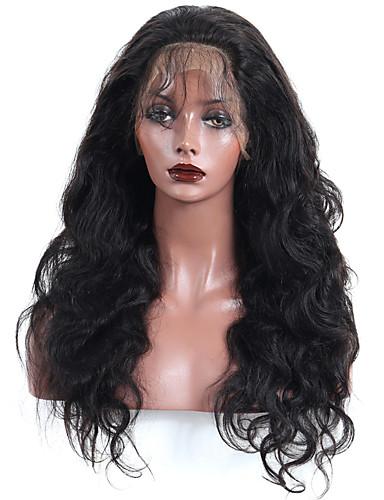preiswerte 360 Spitzenperücken-Echthaar 360 Frontal Perücke Mit Strähnen Stil Brasilianisches Haar Große Wellen Perücke 180% Haardichte Damen Mittlerer Länge CARA