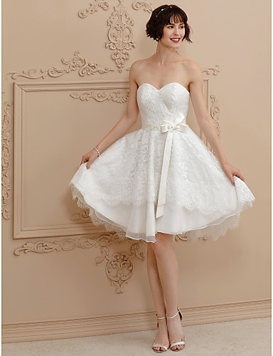 Princess Sweetheart Neckline Short Mini Satin Corded Lace Made To Measure Wedding Dresses With Bow S Sashes Ribbons By Lan Ting Bride Little