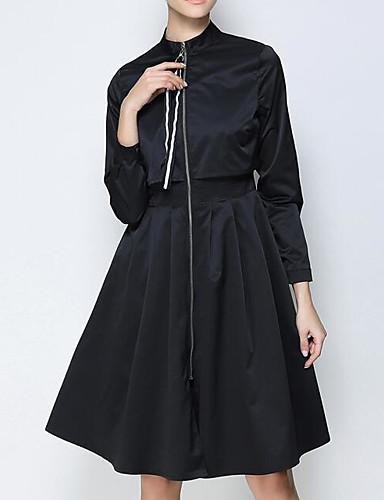 preiswerte Ausverkauf-Damen Ausgehen Street Schick Herbst Lang Trench Coat, Solide Ständer Langarm Andere Schwarz / Armeegrün / Khaki