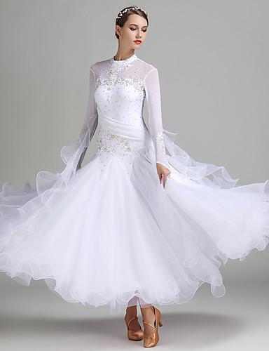 preiswerte Tanzschuhe-Für den Ballsaal Kleider Damen Leistung Elasthan / Tüll / Milchfieber Applikationen / Kristalle / Strass Langarm Normal Kleid