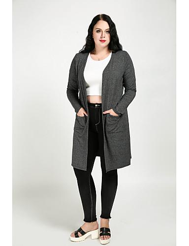 preiswerte Soprabiti taglie forti da Donna-Damen - Solide Retro Übergrössen Trench Coat, V-Ausschnitt Baumwolle überdimensional