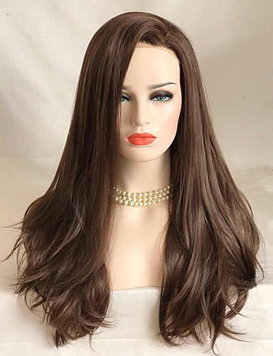 preiswerte Pflege & Haar-Synthetische Lace Front Perücken Wellen Wellen Spitzenfront Perücke Lang Braun Synthetische Haare Damen Braun Uniwigs
