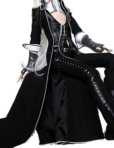 preiswerte Lolita Kleider-Vampire Gothik Lolita Punk Austattungen Herrn Damen PU-Leder Japanisch Cosplay Kostüme Schwarz Solide Gedicht Langarm Knöchel-Länge