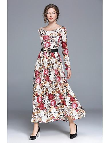 preiswerte Kleider-Damen Street Schick Swing Kleid Blumen Maxi