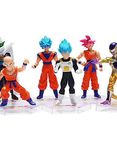 povoljno Anime cosplay-Sun WuKong Son Goku Dragon Ball Akcijske figurice Anime i manga Noviteti plastika Muškarci Dječaci Djevojčice Igračke za kućne ljubimce Poklon 6 pcs / lik