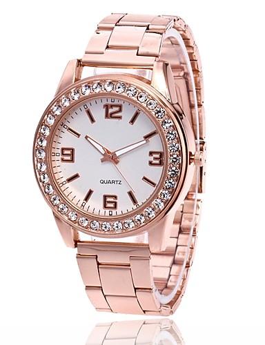 9649e0eb171 Homens Mulheres Relógio de Pulso Quartzo Metal Prata   Dourada   Ouro Rose  Relógio Casual Analógico Amuleto Casual Relógio simulado de diamantes -  Dourado ...