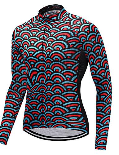 povoljno Odjeća za vožnju biciklom-FUALRNY® Muškarci Dugih rukava Biciklistička majica Red+Blue Bicikl Biciklistička majica Sportski Zima Brdski biciklizam biciklom na cesti Odjeća / Visoka elastičnost