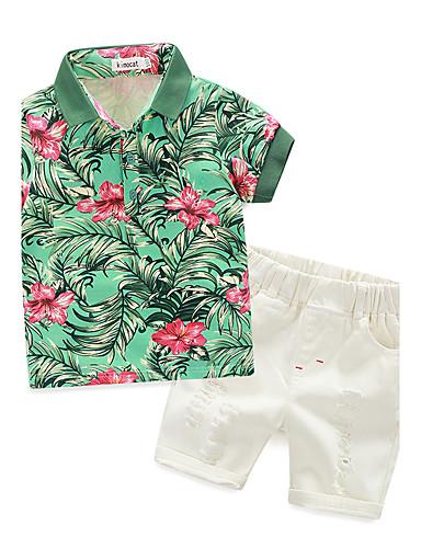 preiswerte Frische Palmenprints-Baby Jungen Druck Kurzarm Baumwolle Kleidungs Set Weiß