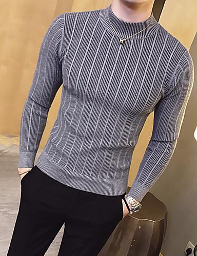 preiswerte Ausverkauf-Herrn Alltag Grundlegend Streife Solide Langarm Schlank Standard Pullover Pullover Jumper, Rundhalsausschnitt Herbst / Winter Schwarz / Weiß / Rosa M / L / XL