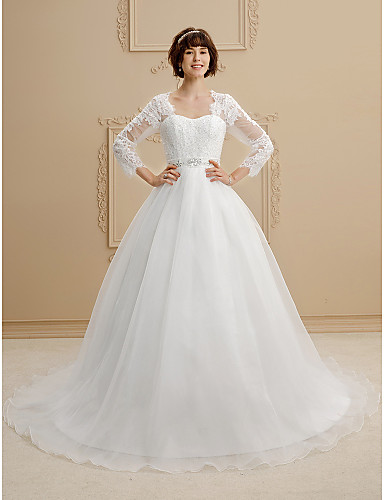 Ball Gown Queen Anne Chapel Train Lace / Organza Made-To-Measure Wedding Dresses Beading / Sashes / Ribbons LAN TING BRIDE® / Illusion Sleeve / See-Through / Beautiful Back / Royal Style