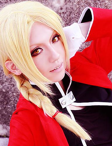 voordelige Cosplay Pruiken-Fullmetal Alchemist Edward Elric Cosplaypruiken Heren 18 inch(es) Hittebestendige vezel Blond Anime