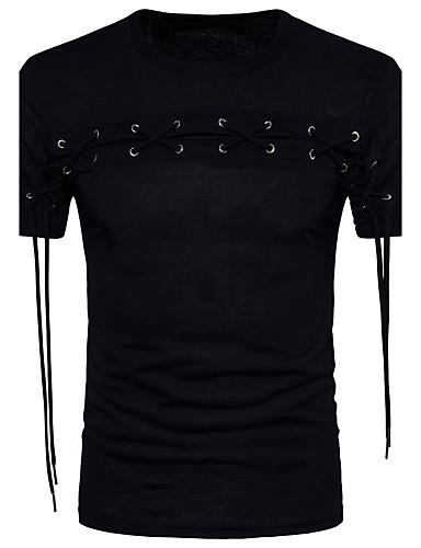 preiswerte Ausverkauf-Herrn Solide Baumwolle T-shirt, Rundhalsausschnitt Schwarz / Kurzarm / Frühling / Sommer