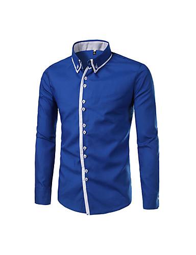 levne Pánské košile-Pánské - Jednobarevné Košile Bavlna Černá / Dlouhý rukáv