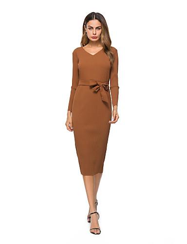 preiswerte Damen Kleider-Damen Party Ausgehen Baumwolle A-Linie Kleid Solide Knielang V-Ausschnitt