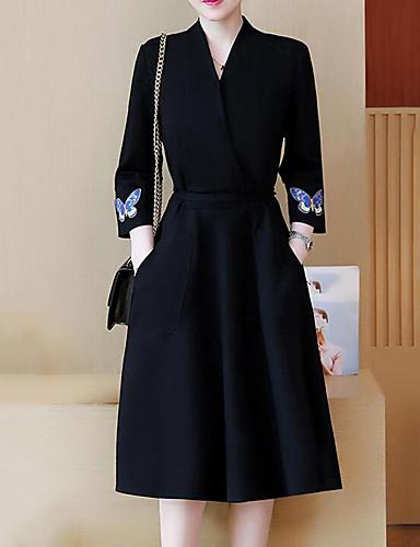 levne Pracovní šaty-Dámské Větší velikosti Párty Volné Šaty - Jednobarevné Výšivka Midi Do V Černá