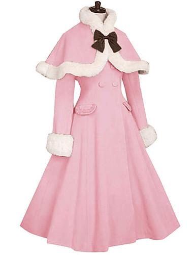 preiswerte Lolita Kleider-Prinzessin Sweet Lolita Pelzkragen Mädchenhaft Winter Kappe Mantel Damen Mädchen Japanisch Cosplay Kostüme Blau / Rosa / Fuchsia Solide Langarm Knie-Länge