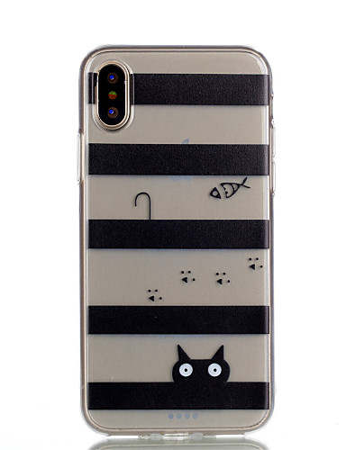 tok Για Apple iPhone X / iPhone 8 Plus / iPhone 8 Διαφανής / Με σχέδια Πίσω Κάλυμμα Γραμμές / Κύματα / Γάτα Μαλακή TPU