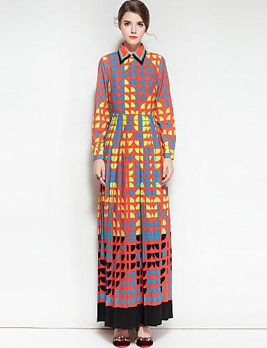preiswerte Kleider-Damen Baumwolle Swing Kleid - Druck, Geometrisch Maxi Hemdkragen