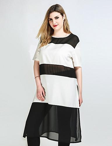billige Dametopper-Store størrelser T-skjorte Dame - Fargeblokk Klubb