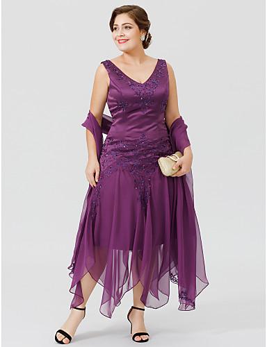 voordelige Wrap Dresses-A-lijn V-hals Asymmetrisch Chiffon Satijn All Over Lace Bruidsmoederjurken met Kralen Appliqués door LAN TING BRIDE®
