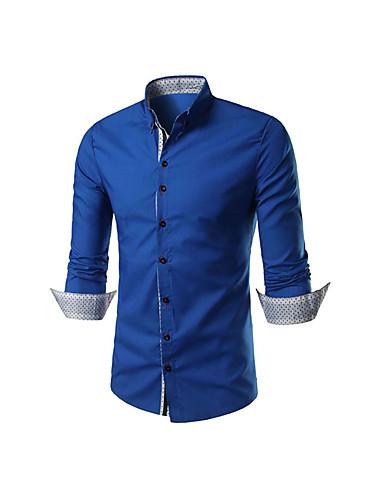 levne Pánské košile-Pánské - Jednobarevné Košile Bavlna Námořnická modř / Dlouhý rukáv